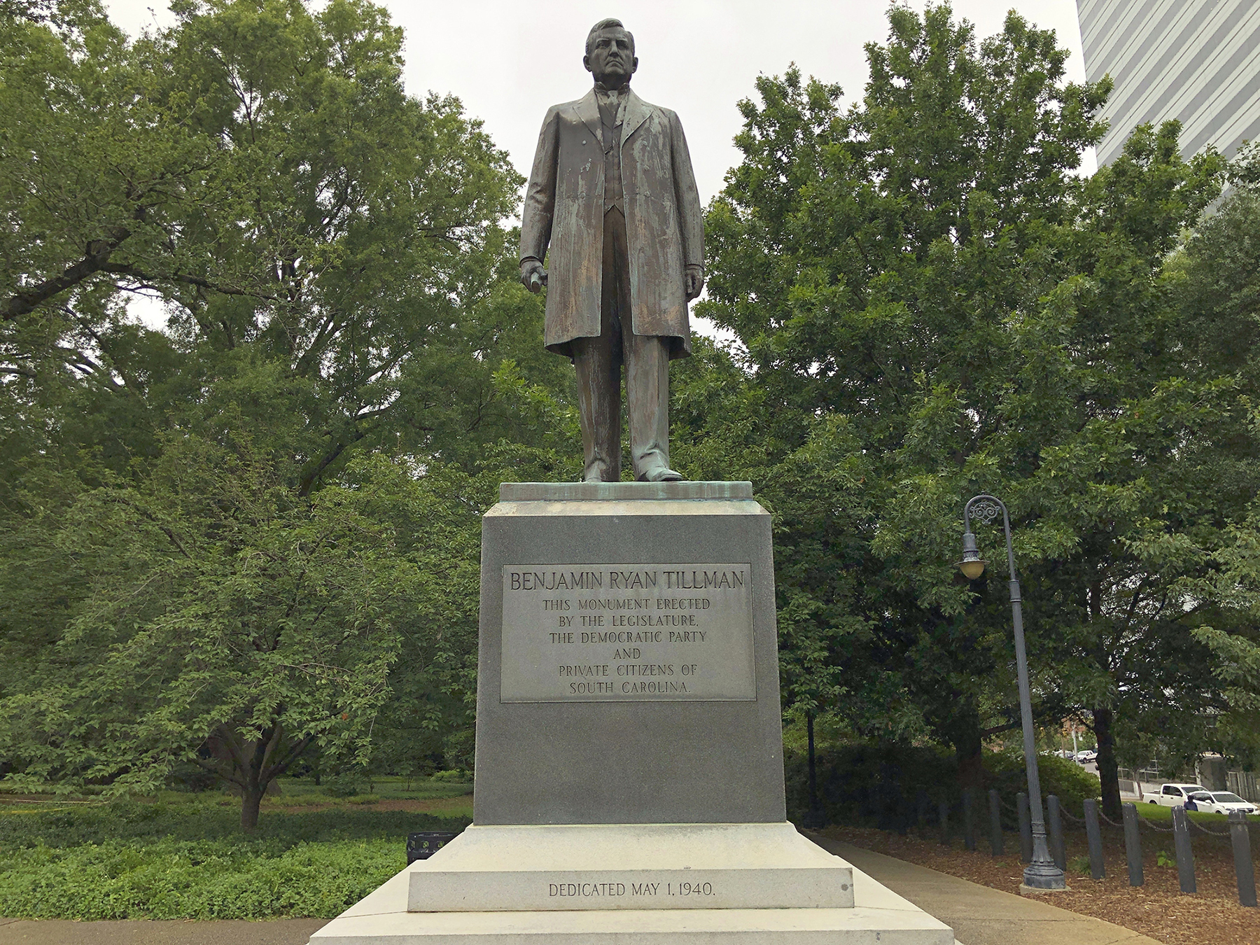 """A statue of """"Pitchfork"""" Ben Tillman is seen outside the South Carolina Statehouse on Tuesday, June 16, 2020, in Columbia, South Carolina. Tillman, who was white, led a race riot that killed four black men in 1876. Some activists want his statue removed."""